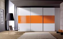 Serie 200 Mod. 3C melamina blanca+cristal naranja